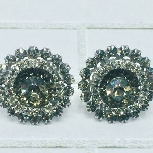 50s Weiss Black Diamond Rhinestone ClipOn Earrings